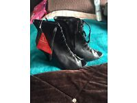 Women's open toe high heel ankle boots with laces NEW SIZE 7
