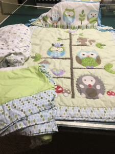 Crib sheet set and skirt