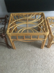 2 Piece Rattan c side table and ottoman