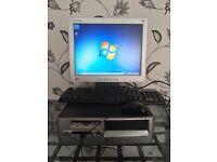 Desktop PC computer, Windows 7, 2.4GHz, 3GB memory, 40GB hard drive, screen, keyboard, mouse