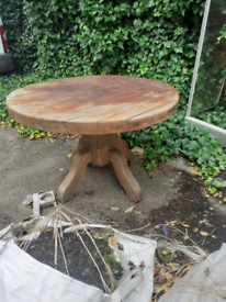 Solid wood garden table upcycle