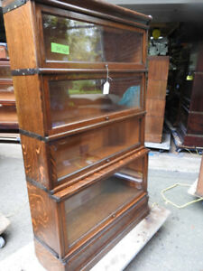 "Antique four level ""step back"" barrister bookcase,"