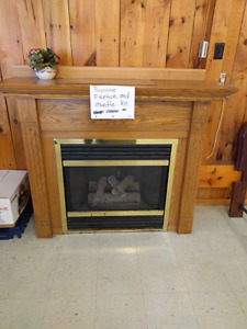 Propane fire place with mantle