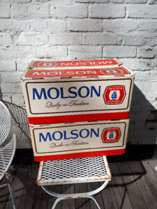 Vintage MOLSON 24 Bottles Cardboard Crate with Labatt bottles