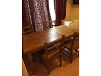 Pine/oak dinning table and chairs
