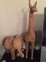 Giraffe and Elephant Sculptures