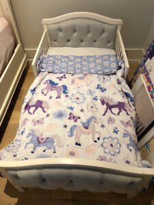 Toddler Bed - Girl - white with studs - crib mattress