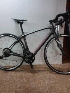 Specialized woman's 51 cm ruby carbon road bike needs a rider.