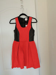 BNWT Parker red fit flare dress with leather xs 0