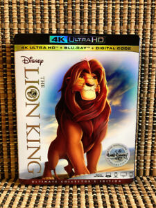 The Lion King 4K: Signature Ed (2-Disc Blu-ray, 2018)+Slipcover.