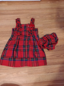 Size 24 month plaid dress and diaper cover