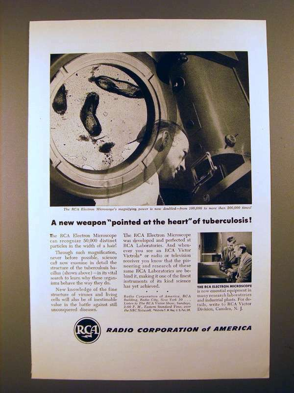 1946 RCA Electron Microscope Ad - A New Weapon