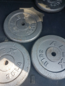 """4x35lbs 1"""" metal weight plates (weights) 0.60/lb"""
