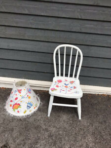 Hand painted child's chair and matching lampshade