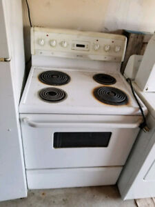 White used  stove and dryer working conditon