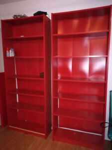 3 Ikea Discontinued Red Bookcases & 2 Wall shelves