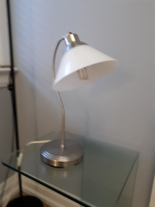 Ikea Lamp W/ Metal Base and White Glass Lampshade