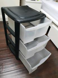 Three plastic drawers black