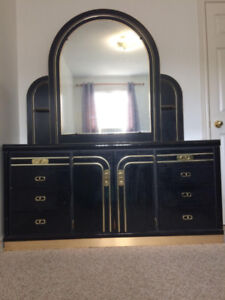 Vanity with gold detailing