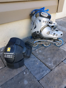Kid's rollerblades with elbow pads