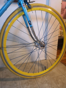 Yellow Wheelset and Tires for fixie