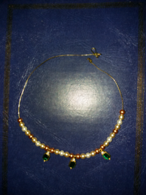 Pearl with Green Gems necklace/choker