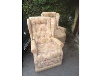 Pair of wing back chairs in good condition