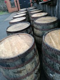 Solid oak whisky barrels