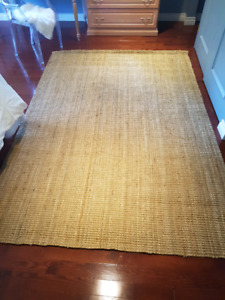 Large Natural Fiber Hand-Woven Thick Jute Rug - 8' x 6'