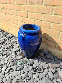 Set of 4 Decorative Blue Glazed Pots - Can be sold individually