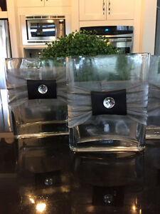 Glass vases with removable bows, 14 pieces, $30 for all