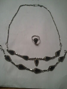 vintage 925 silver ,necklace ,bracelet,and ring with black onyx