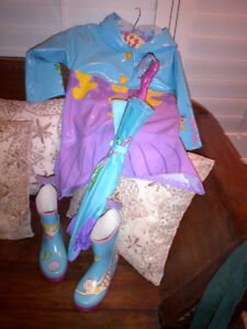 The Lovely Mermaid Raincoat with matching Boots & Umbrella MINT!