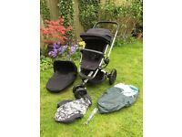 Quinny Buzz Xtra Stroller with Carrycot - Rocking Black (2014) with Accessories