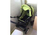 Karwala sports pram lime green with changing bag USED but good condition