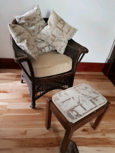 Antique wicker chair and stool !!!!