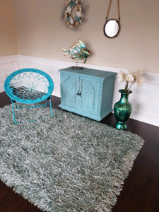 Area rug and cabinet  (teal)