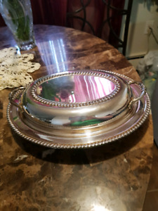 Silver colored Dish with lid