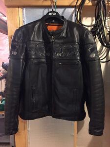 Men's leather motorcycle jacket