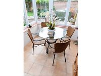 Marks and Spencer rattan and glass table and chairs