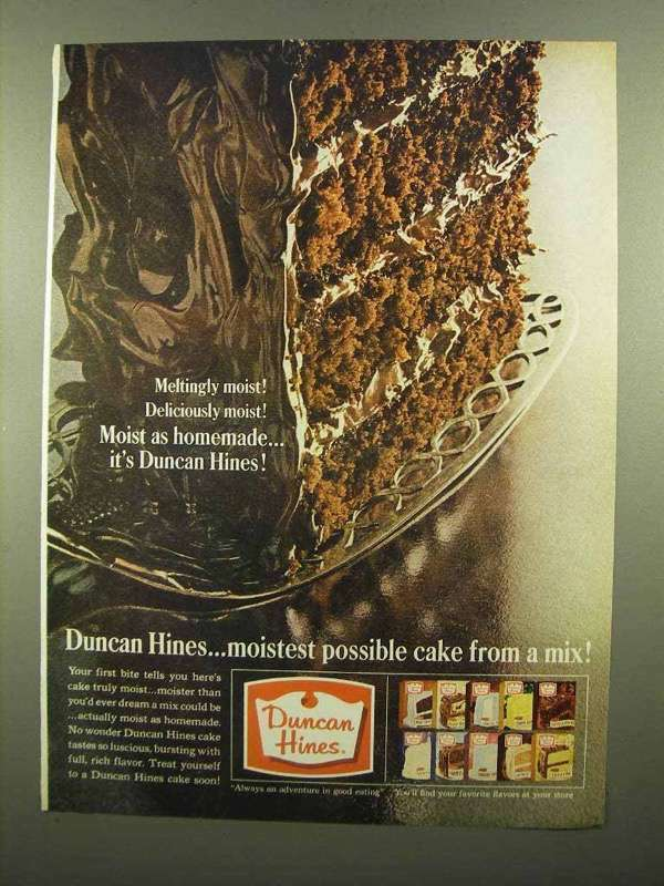 1965 Duncan Hines Cake Mix Ad - Meltingly Moist