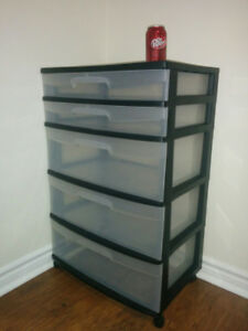 Rolling Plastic Storage Unit - 5 Drawers