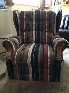 Striped Wing Back Chair