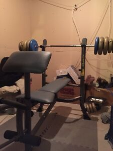 Bench press and bar + weights