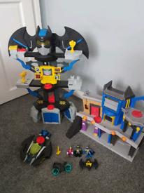 Imaginext batman transforming batcave and gotham city playset.