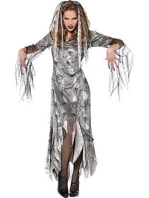 Adult Graveyard Zombie Costume Ladies Halloween Bride Fancy Dress Outfit New (Graveyard Bride Costume)