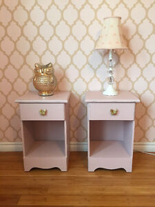 2 Shabby Chic Pink Night Stands