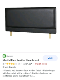 DARK BROWN DOUBLE BED FAUX LEATHER HEADBOARD