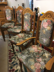 Set of 6 Upholstered, Solid Oak Dining Chairs $180 or Best Offer