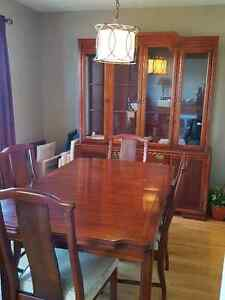 Cherry wood Dining room hutch, table and 6 chairs